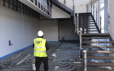 IFT install screed onto underfloor heating system at Scottish Sea Farms hatchery